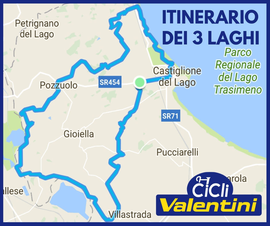 Mappa del tour dei 3 laghi in mountain-bike - Cicli Valentini